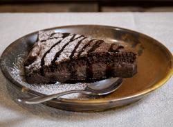 Chocolate cream tart slice image
