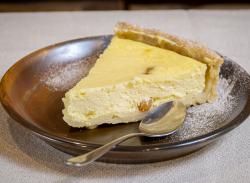 Sweet cheese tart slice image