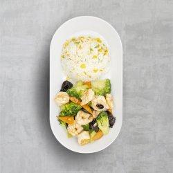 Creveți cu broccoli la wok image