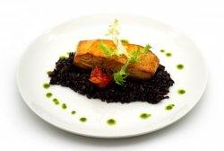 Orange ginger salmon with black rice image