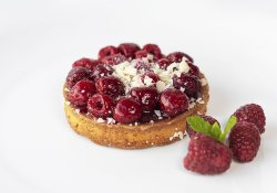 Raspberry and white chocolate tart