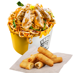 Noodle Pack Pui Grill cu Snack Spring Rolls image