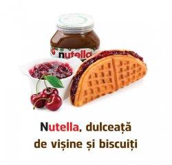 Famous Waffle: Waffle cu Nutella, Dulceata de visine si Biscuiti