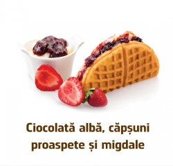 Famous Waffle: Waffle cu Ciocolata alba, Nutella si Capsuni proaspete