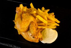 Fried Coquelet with Garlic Sauce & Crispy Fries + Ursus Premium 0.33 image