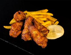 Spicy BBQ Chicken Wings + Crispy Fries image