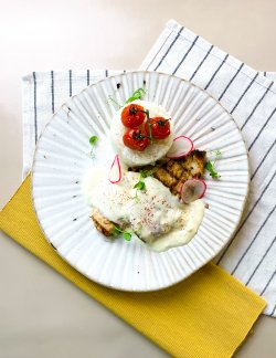 Piept de pui cu sos de gorgonzola și orez image