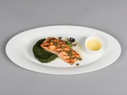 Grilled salmon with spinach and capers image
