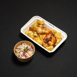 Pui copt (1/2), cartofi copți și salată coleslaw image