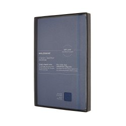Carnet - Moleskine - Classic Italian Leather - Soft Cover, Large, Ruled - Forget Me Not Blue