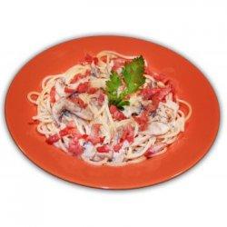 Spaghetti con Prosciutto e Funghi image