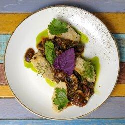 Ciuperci cu spanac și mămăligă integrală cu semințe image