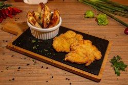 Șnițel de pui panko și cartofi la cuptor