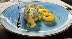 Pork tenderloin with caramelized apples and light mustard dressing image