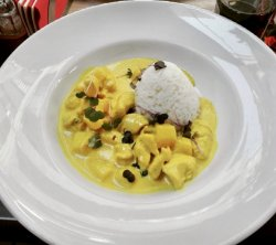 Chicken curry with pineapple and basmati rice image