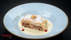Viennese apple strudel and vanilla sauce image