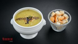 Broccoli soup with tahini, lemon and pine nut za'atar image