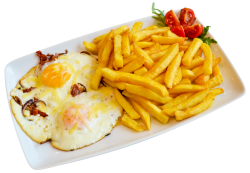 Ouă ochi în bacon şi ceapă cu cartofi prăjiţi