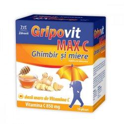 Gripovit Max C ghimbir și miere, 10 plicuri, Zdrovit