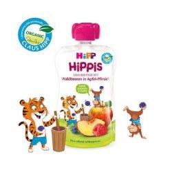 Piure bio de măr, piersică și fructe de pădure, HiPPiS, +12