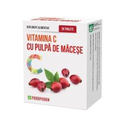 Vitamina C cu pulpa de măceșe, 30 tablete, Parapharm