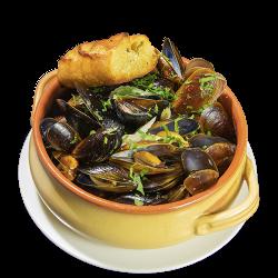 Midii de Marea Neagră în vin alb/Black Sea mussels in white wine image