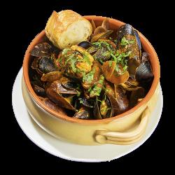 Midii de Marea Neagră în sos roșu/Black Sea mussels in tomato sauce image