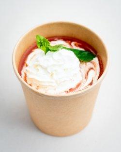 Supă de roșii Cu chefir, frișcă și pălincă infuzată cu țelină / Tomato soup image