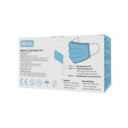 Măști medicale de protecție, de unică folosință, tip II, 3 straturi, Albastru, Set 50 buc. image