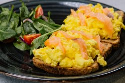 Scrambled eggs and salmon toast image
