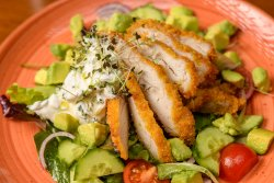 Salată cu piept de pui, avocado și salată colorată/Chicken breast and avocado salad and colourful salad