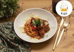 Kids: Chiftelute de vita cu spaghetti, sos tomat  si parmazen  image