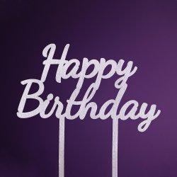 Topper Happy Birthday argintiu  image
