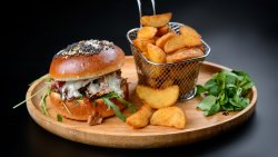 Duck Burger with Gorgonzola, Honey &Truffle Sauce and Wedges fries image