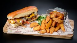 Philly Cheese Steak Sandwich with Wedges fries image