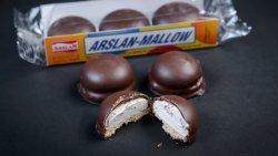 Biscuiti cu marshmallow cu glazura de cacao