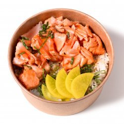 Teriyaki salmon bowl + bere Asahi image