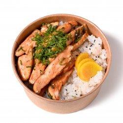 Teriyaki chicken bowl + bere Asahi image