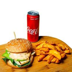 Burger de pui+cartofi prăjiți+doză suc image