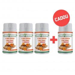 Pachet 3+1 GRATUIT Curcumin Organic și Piperină 120 capsule