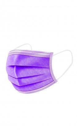 Set 50 bucăţi Măşti medicale faciale, de unică folosinţă, tip I, 3 straturi (mov/violet) image