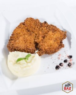 Chicken schnitzel with mashed potatoes image