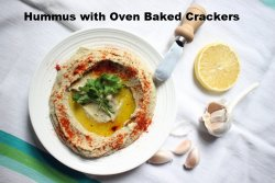 Smooth Home-made Hummus with Oven Baked Crackers  image