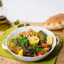 Miel la tava cu legume coapte si orez image