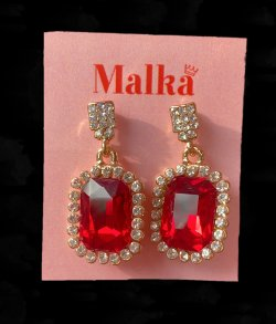 Squared Red Crystal Earings image