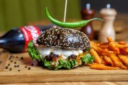 Black Hot Burger + French fries + Coke image