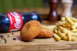 Cheese and ham + French fries + Coke image