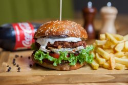 Cool Chicken burger + French Fries + Coke image