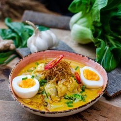 South east asian curry laksa soup image