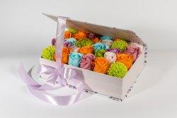 Cutie în formă de carte mov model lavandă medii + 29fire flori săpun multi color (25cm) image